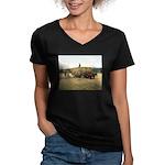 Haying in New England Women's V-Neck Dark T-Shirt