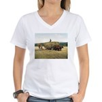 Haying in New England Women's V-Neck T-Shirt