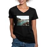 Sagamore Dock New York Women's V-Neck Dark T-Shirt