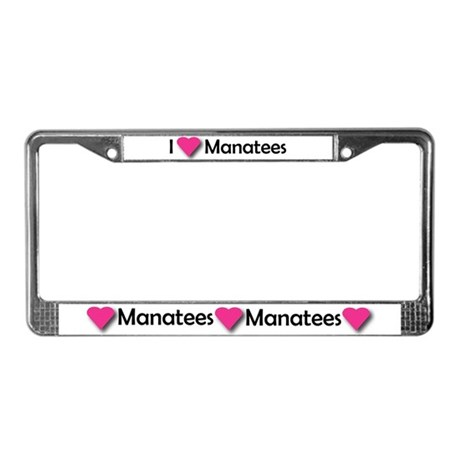 I LUV MANATEES License Plate Frame