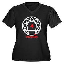 Cute Loner Women's Plus Size V-Neck Dark T-Shirt