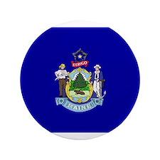 """Beloved Maine Flag Modern Sty 3.5"""" Button"""