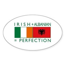 Irish Albanian heritage flag Oval Decal