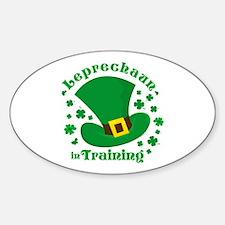 Leprechaun In Training Oval Decal