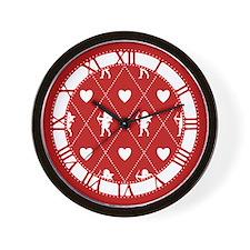 Valentine Diamond Pattern Cupid Wall Clock