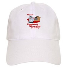 Why can't Vampires and Werewolves get along? Baseball Cap