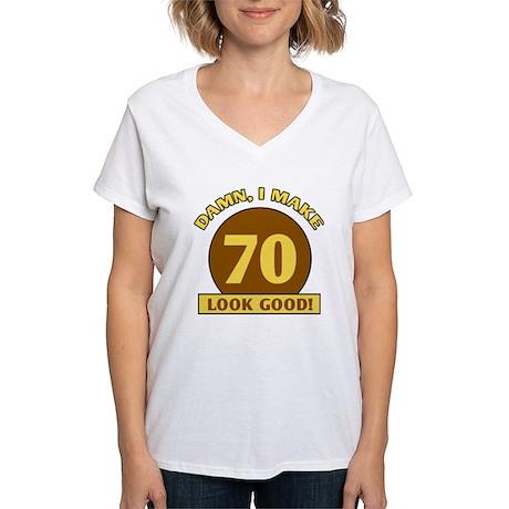 70th Birthday Gag Gift Women's V-Neck T-Shirt