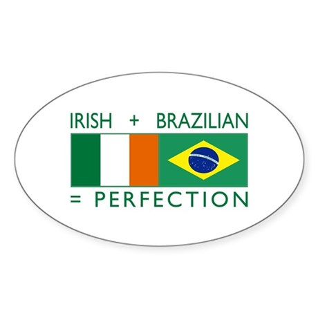 Irish Brazilian flag Oval Sticker