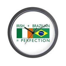 Irish Brazilian flag Wall Clock