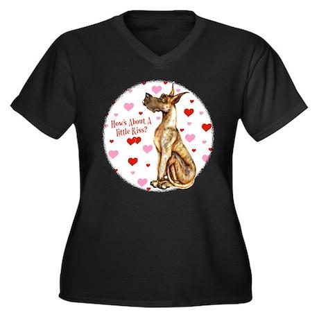 Great Dane Brindle Kiss Women's Plus Size V-Neck D
