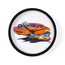 Challenger Orange Car Wall Clock