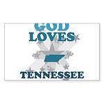 God Loves Tennessee Rectangle Sticker 10 pk)