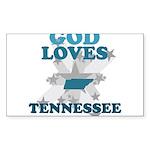God Loves Tennessee Rectangle Sticker