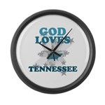 God Loves Tennessee Large Wall Clock