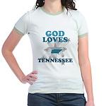 God Loves Tennessee Jr. Ringer T-Shirt