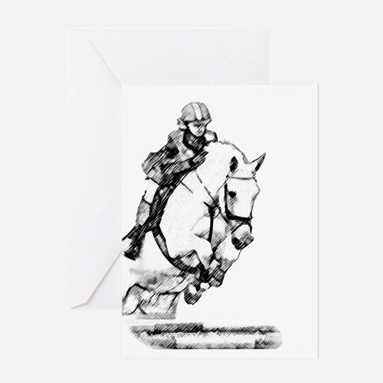 show jumping horse Greeting Card