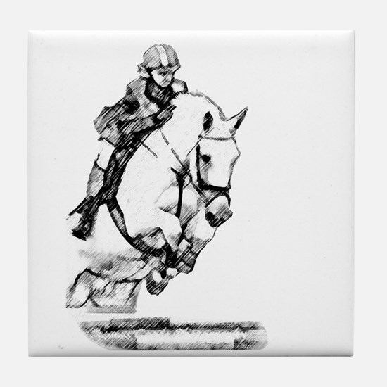 show jumping horse Tile Coaster