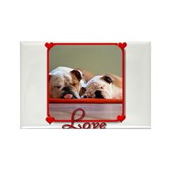 Love Bulldogs Rectangle Magnet (100 pack)