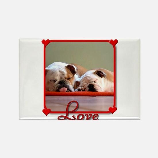 Love Bulldogs Rectangle Magnet