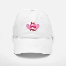 Zoe Loves Papa Baseball Baseball Cap