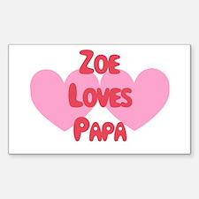 Zoe Loves Papa Rectangle Decal