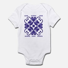 Purple Hearts Hawaiian Quilt Infant Bodysuit