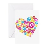 Love & Peace in Heart Greeting Cards (Pk of 10