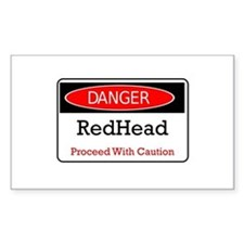Danger! Red Head! Rectangle Decal