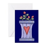 Roses and Heart Greeting Cards (Pk of 10)