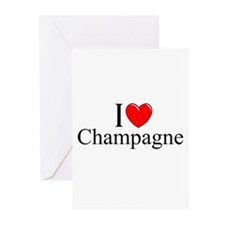 """I Love (Heart) Champagne"" Greeting Cards (Pk of 1"