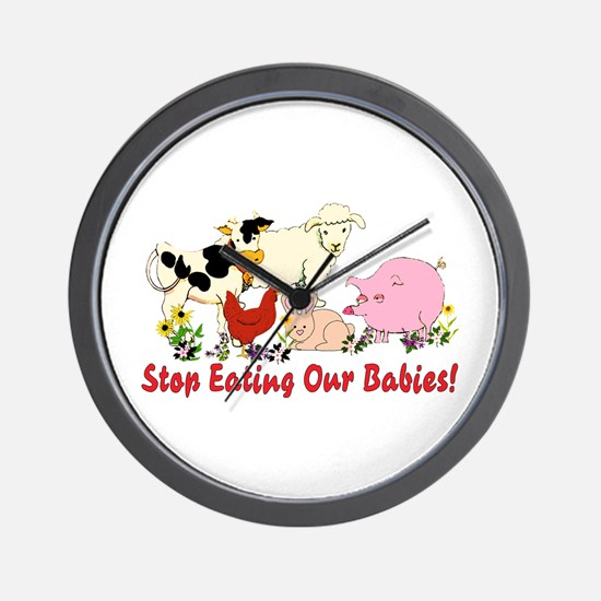 Stop Eating Our Babies Wall Clock