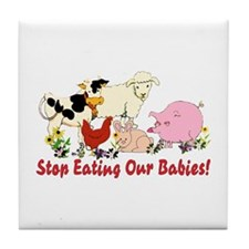 Stop Eating Our Babies Tile Coaster