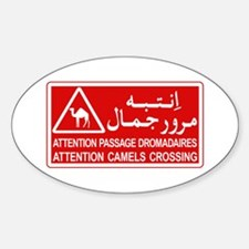 Attention Camels Crossing, Tunisia Oval Decal