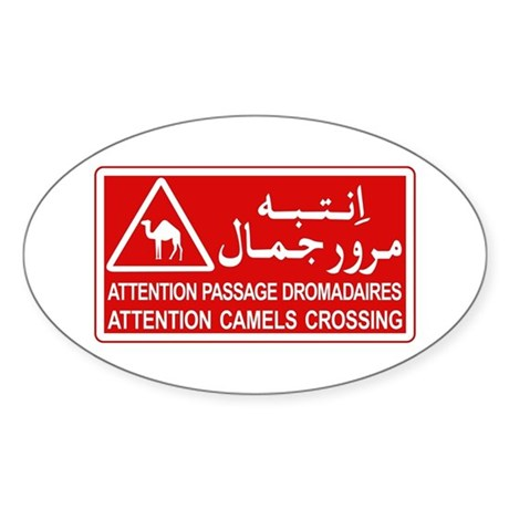 Attention Camels Crossing, Tunisia Oval Sticker