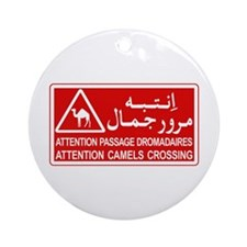 Attention Camels Crossing, Tunisia Ornament (Round