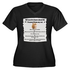 I learned from my cat Women's Plus Size V-Neck Dar