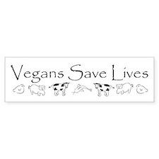 Vegans Save Lives Vegan Bumper Car Sticker