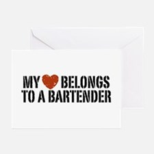 My Heart Belongs to a Bartender Greeting Cards (Pk