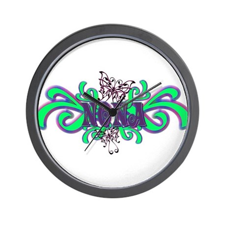 Nona's Butterfly Name Wall Clock