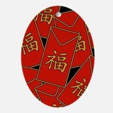 Red Envelopes Oval Ornament