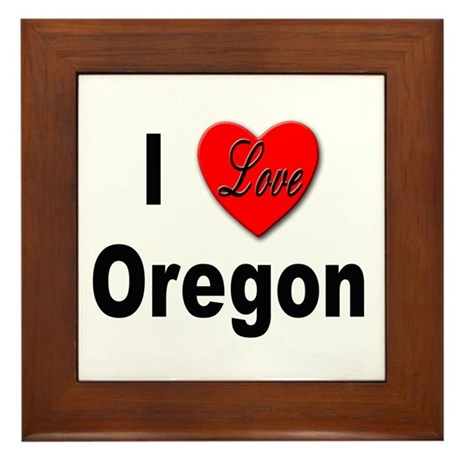 I Love Oregon Framed Tile