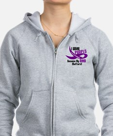 I Wear Purple For My Dad 33 PC Zip Hoodie
