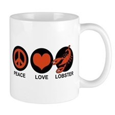 Peace Love Lobster Small Mug