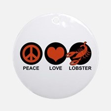Peace Love Lobster Ornament (Round)