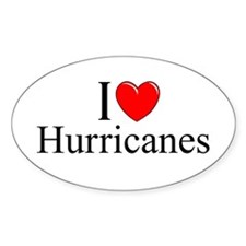 """I Love (Heart) Hurricanes"" Oval Decal"