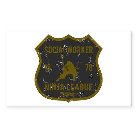 Social Worker Ninja League Rectangle Sticker