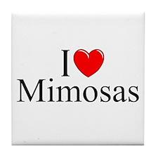 """""""I Love (Heart) Mimosas"""" Tile Coaster"""