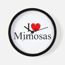 """""""I Love (Heart) Mimosas"""" Wall Clock"""