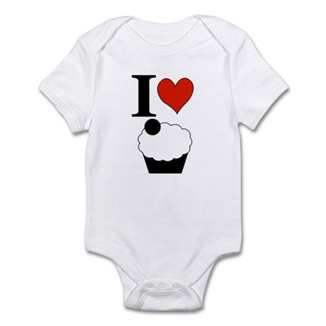 I Heart Cupcake Square Infant Bodysuit