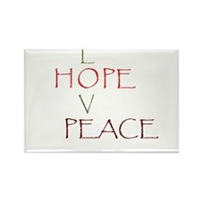 Love Hope Peace Rectangle Magnet (100 pack)